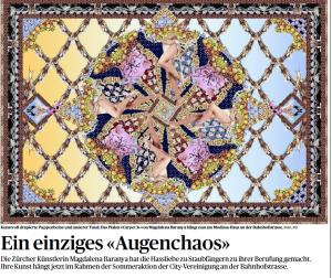 """Ein einziges """"Augenchaos""""- Artikel über die Staubfängerkunst von Madalena Baranya (TA, 30.6.15)"""