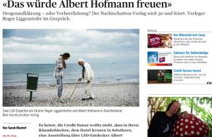 """""""Das würde Albert Hofmann freuen"""", Interview zu 30 Jahre Nachtschatten-Verlag (TA online, 5.9.2014)"""