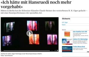 """""""Ich hätte mit Hansruedi noch mehr vorgehabt"""", Videotribut zum Tod von H.R. Giger (TA online, 20.5.2014)"""