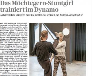 Das Möchtegern-Stuntgirl- Ausprobiert Bühnenkampfworkshop (Tages-Anzeiger, Bellevue, 31.8.14)
